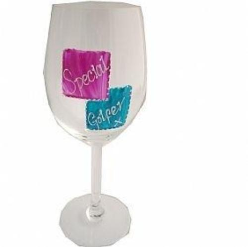 Special Golfer Wine Glass (Mag/Teal)