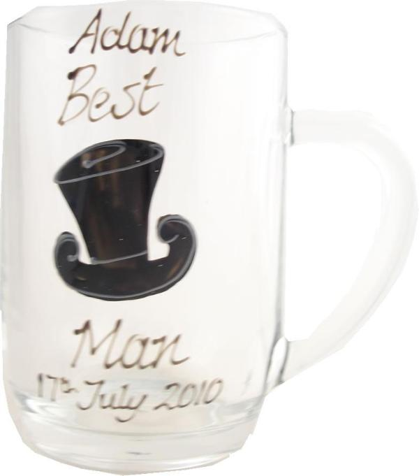 Personalised Best Man Tankard Glass (Top Hat)