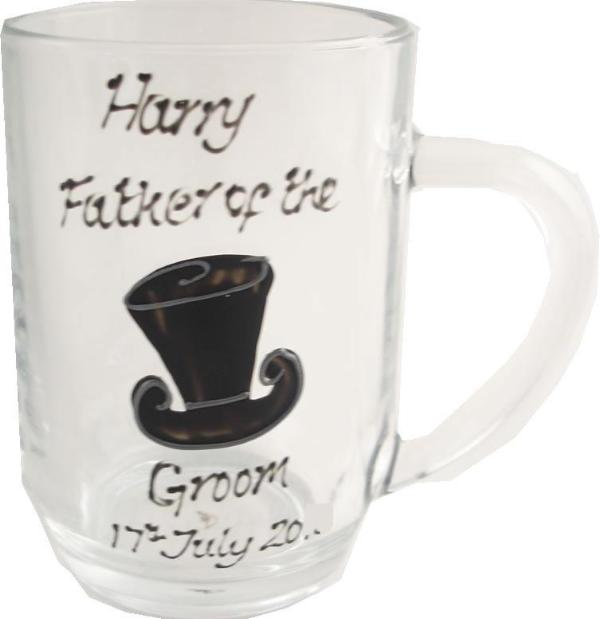 Personalised Father of the GroomTankard Glass (Top Hat)