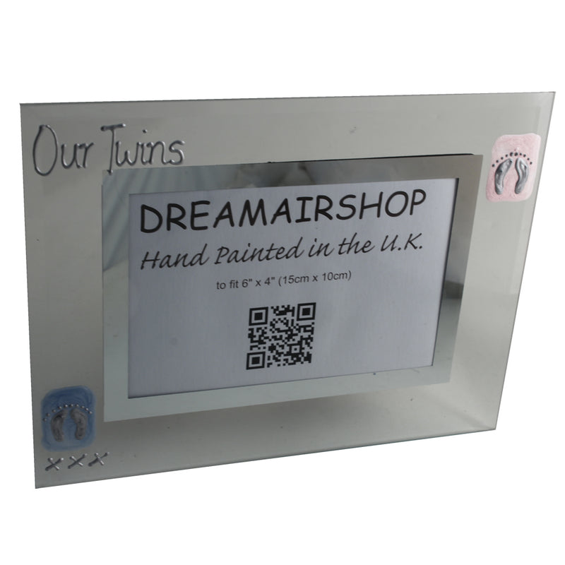 Our Twins Gift Photo Frame: Landscape (Pink/Blue Feet)