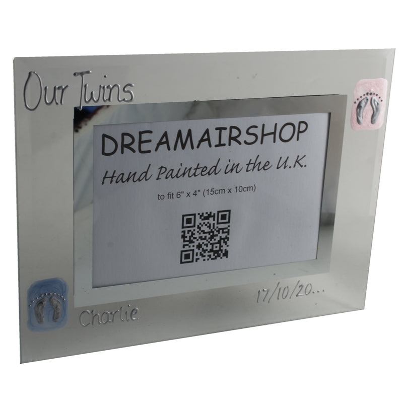 Personalised Our Twins Photo Frame: Landscape (Pink/Blue Feet)