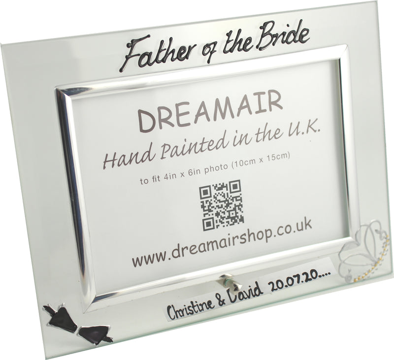 Personalised Father of the Bride Photo Frame Land (Bow & Tiara)