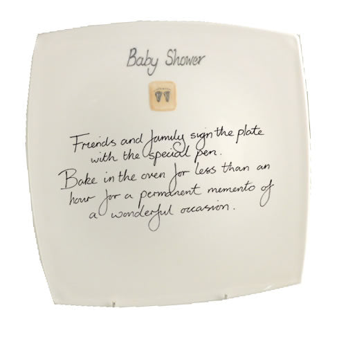 Baby Shower Square Plate (Cream Feet)
