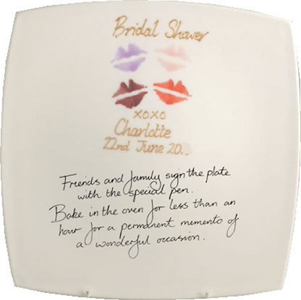 Personalised Bridal Shower Square Plate (Lips)