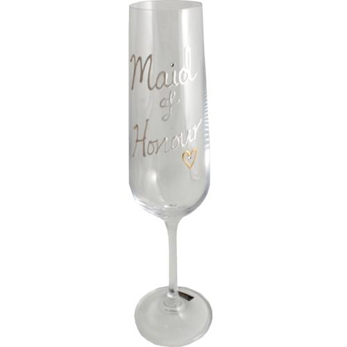 Maid of Honour Champagne Flute: Glass Titanium Crystal Pearl with crystals