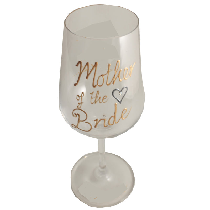 Mother of the Bride Wine Glass: Gold with Titanium Crystals