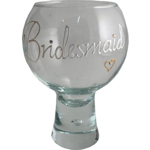 Bridesmaid Bubble Gin and Tonic Glass Pearl with crystals