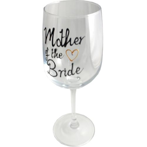 Mother of the Bride Wine: Glass Silver with Crystals