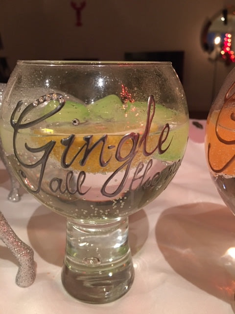 Gin and Tonic Gift Glass: Silver with crystals Gin-gle all the way