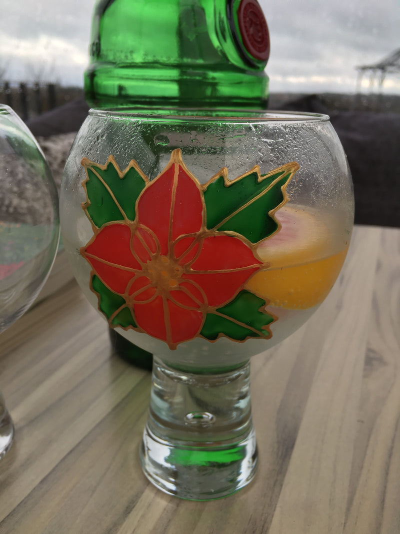 Gin and Tonic Gift Glass: Poinsettia