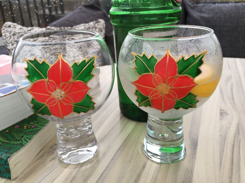 Gin & Tonic Glass Poinsettia x 2