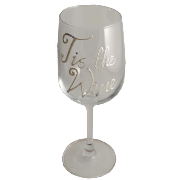 Tis the Wine - Wine Glass Pearl with Crystals