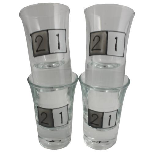 21st Birthday Set 4 Shot Glasses
