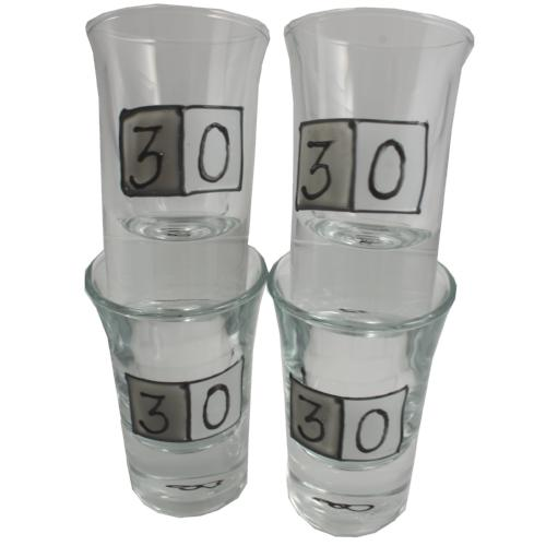 30th birthday set 4 shot glasses