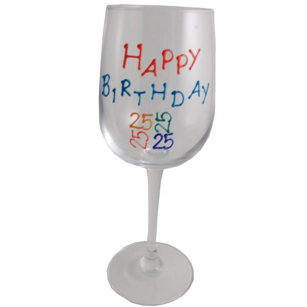 25th Birthday Wine Glass Brights
