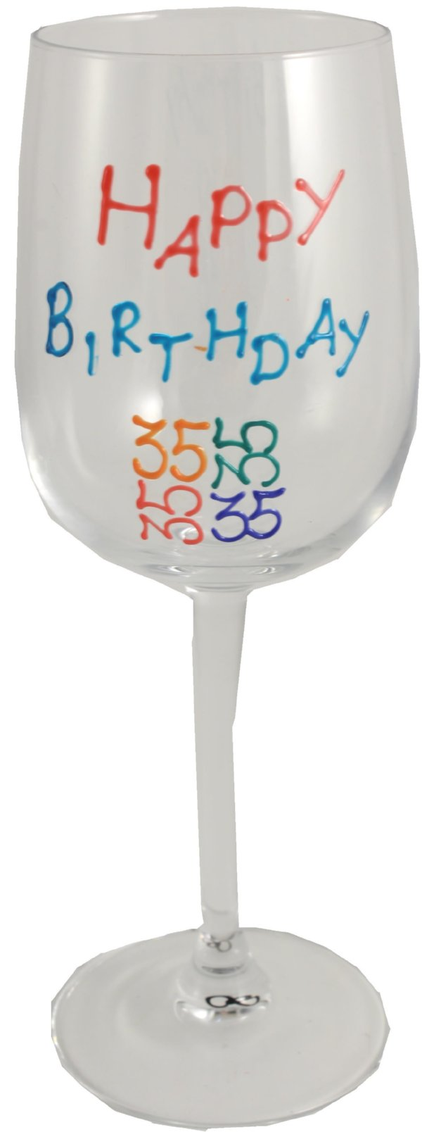 35th Birthday Wine Glass Brights