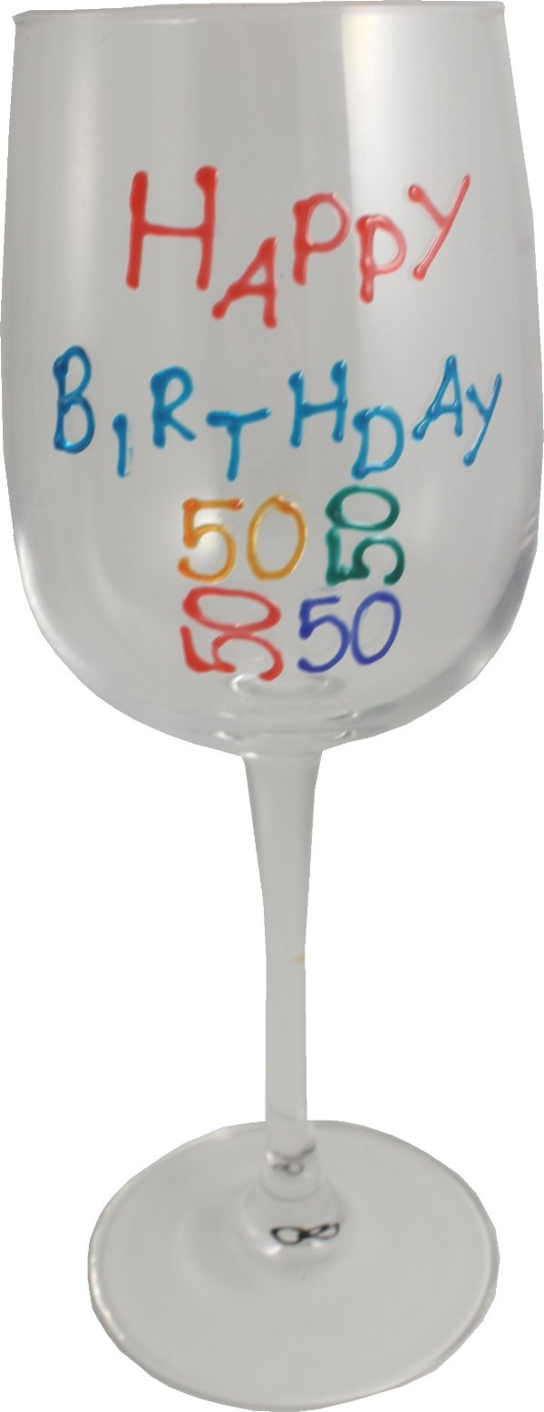 50th Birthday Wine Glass Brights