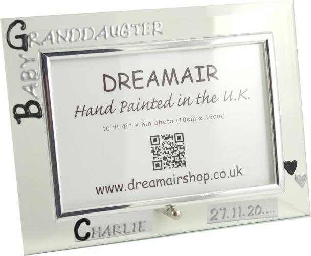 Personalised Baby Granddaughter Photo Frame Land (Blk/Sil)