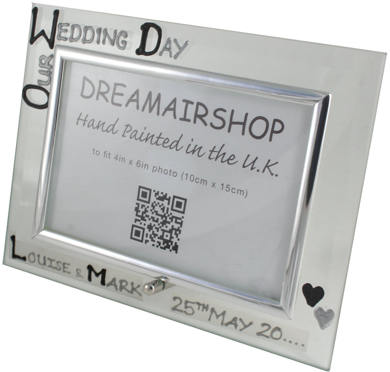 Personalised Wedding Day Photo Frame Blk/Sil