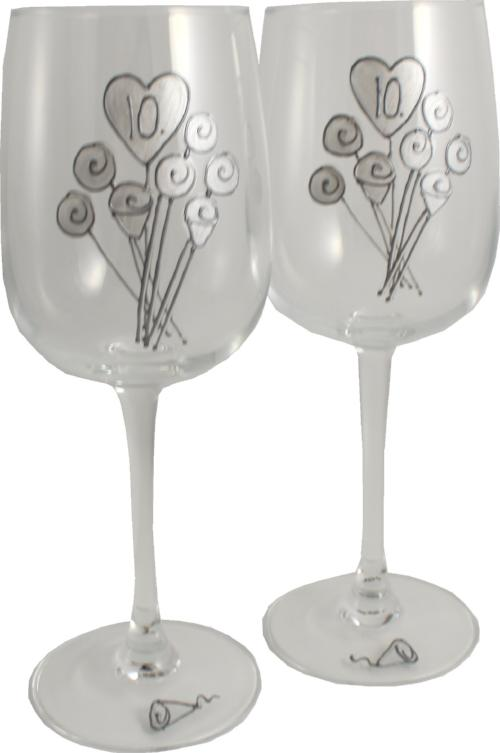 10 Jahre Alles Gute Zum Jubiläum Paar Weingläser - 10th Wedding Anniversary Pair of Wine Glasses (Flower)