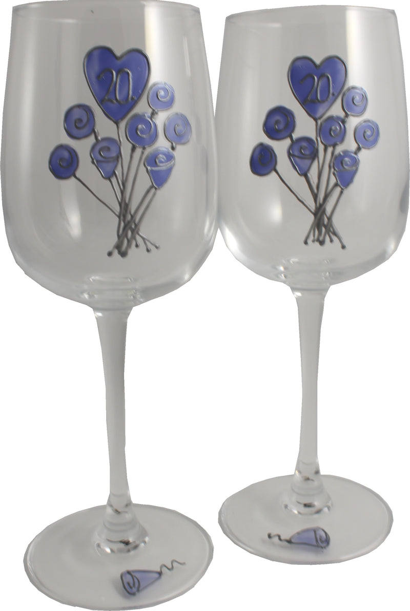 20 Jahre Alles Gute Zum Jubiläum Paar Weingläser - 20th Wedding Anniversary Pair of Wine Glasses (Flower)