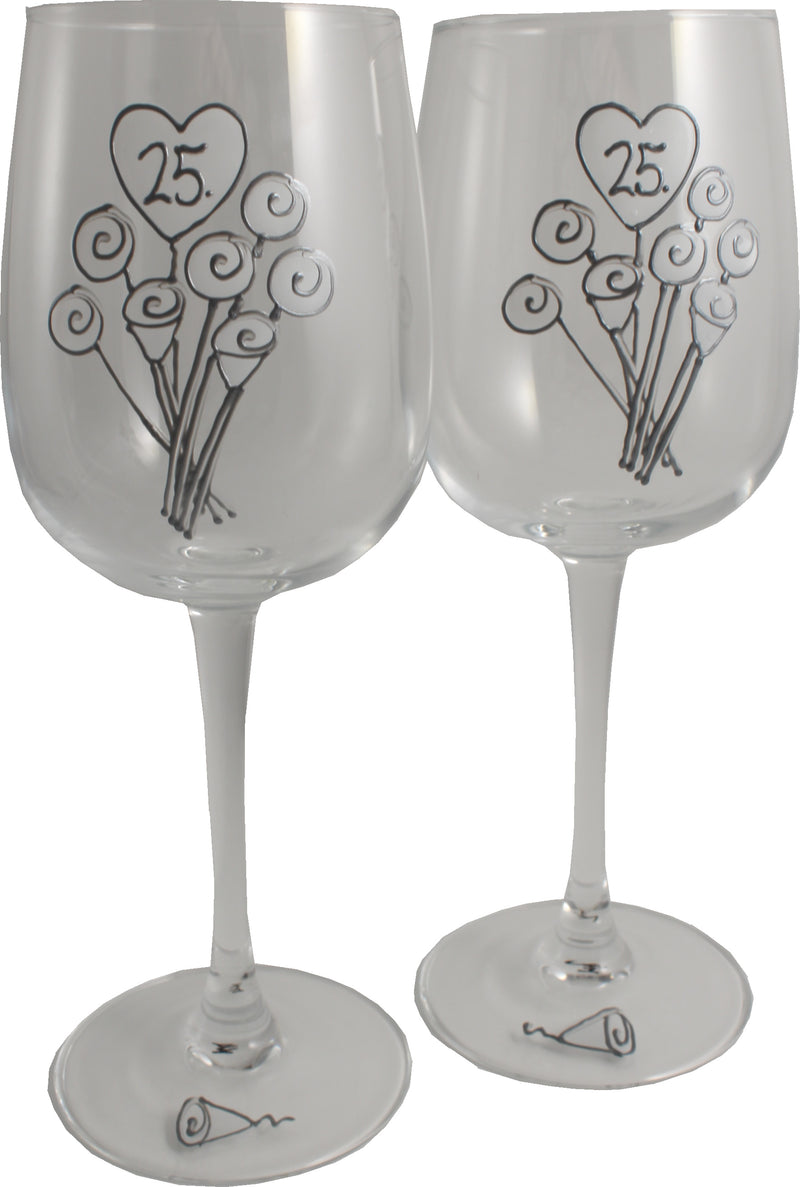 25 Jahre Alles Gute Zum Jubiläum Paar Weingläser - 25th Wedding Anniversary Pair of Wine Glasses (Flower)