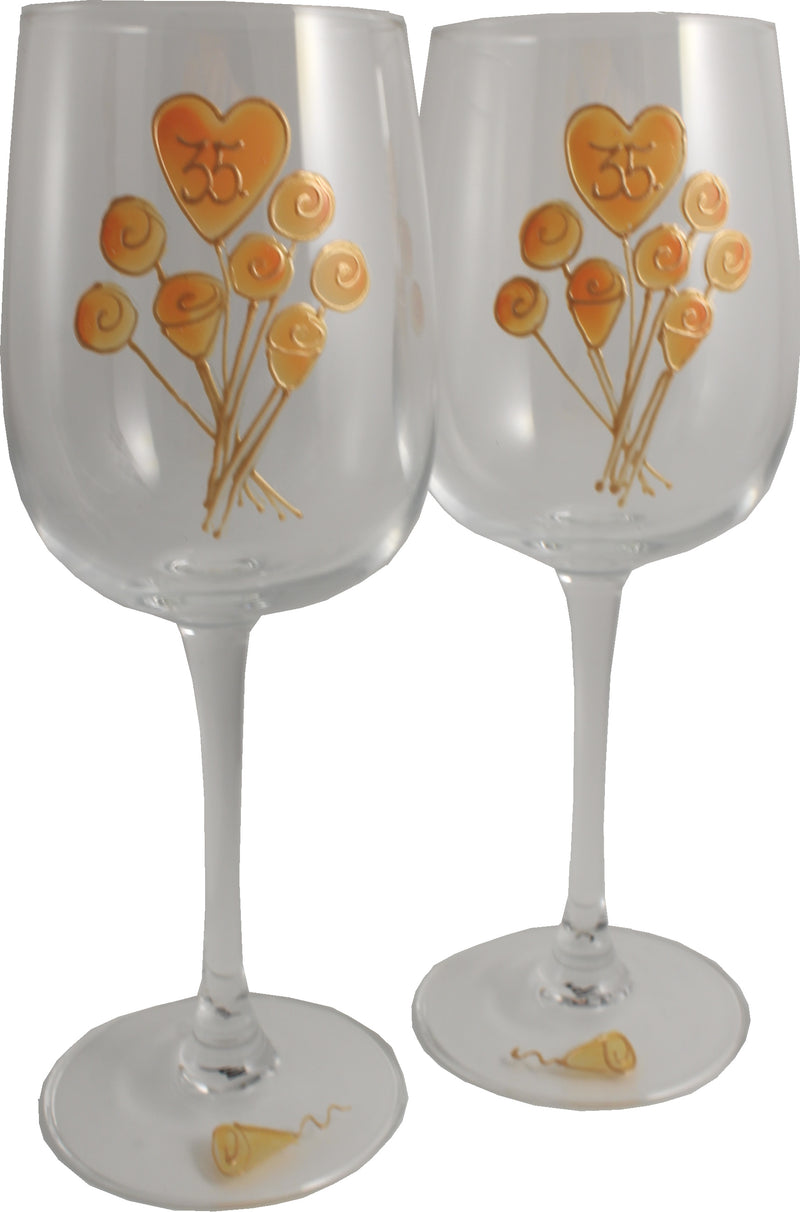 35 Jahre Alles Gute Zum Jubiläum Paar Weingläser - 35th Wedding Anniversary Pair of Wine Glasses (Flower)
