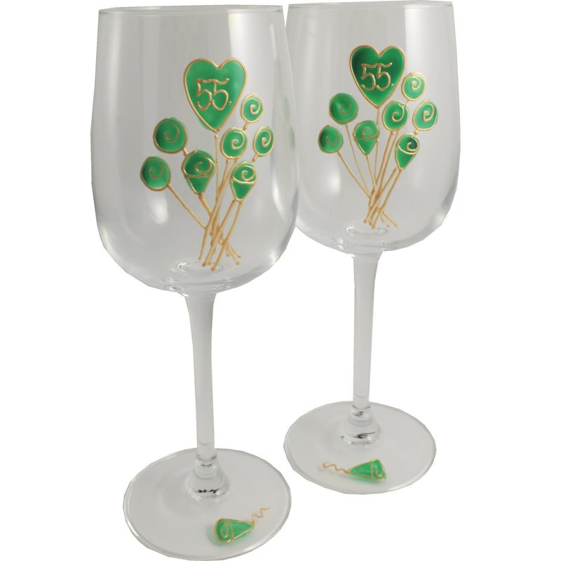55 Jahre Alles Gute Zum Jubiläum Paar Weingläser - 55th Wedding Anniversary Pair of Wine Glasses (Flower)