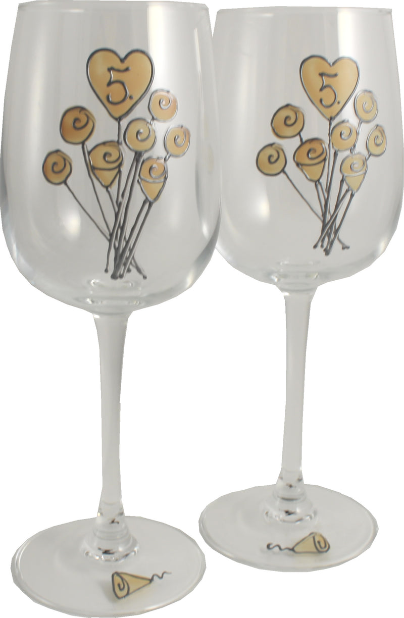 5 Jahre Alles Gute Zum Jubiläum Paar Weingläser - 5th Wedding Anniversary Pair of Wine Glasses (Flower)