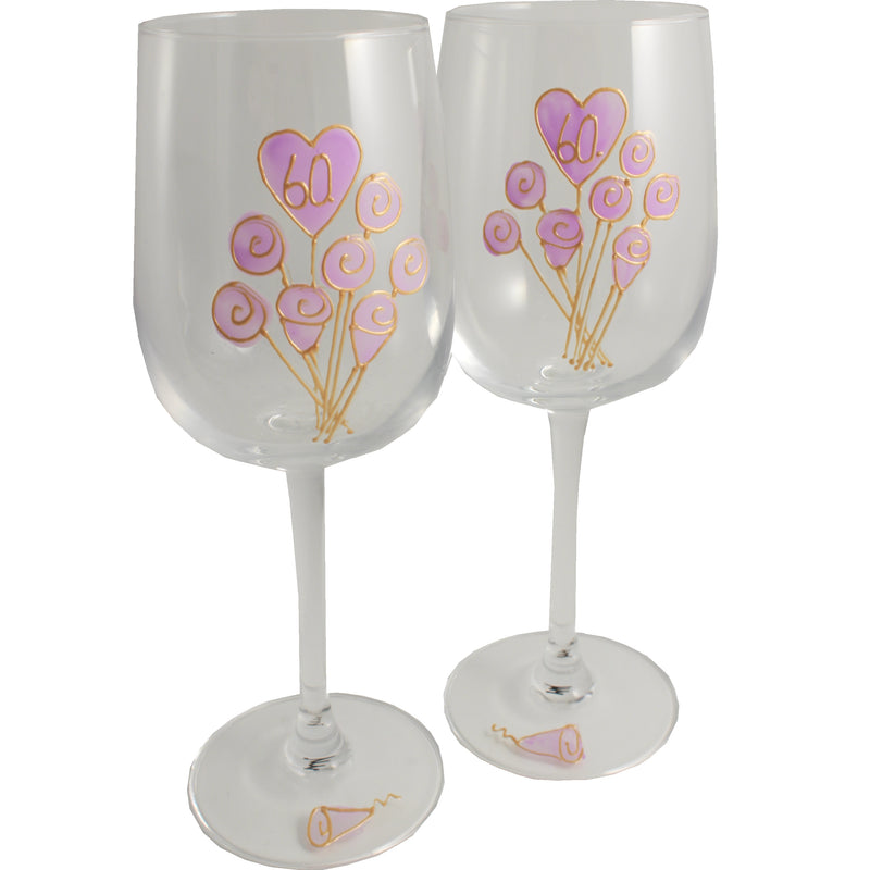 60 Jahre Alles Gute Zum Jubiläum Paar Weingläser - 60th Wedding Anniversary Pair of Wine Glasses (Flower)