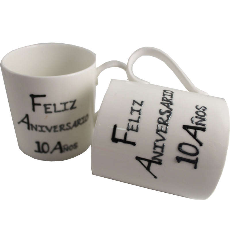 Par de China Tazas Feliz Aniversario 10 Años - 10th Wedding Anniversary Pair of China Mugs  (Blk/Sil)