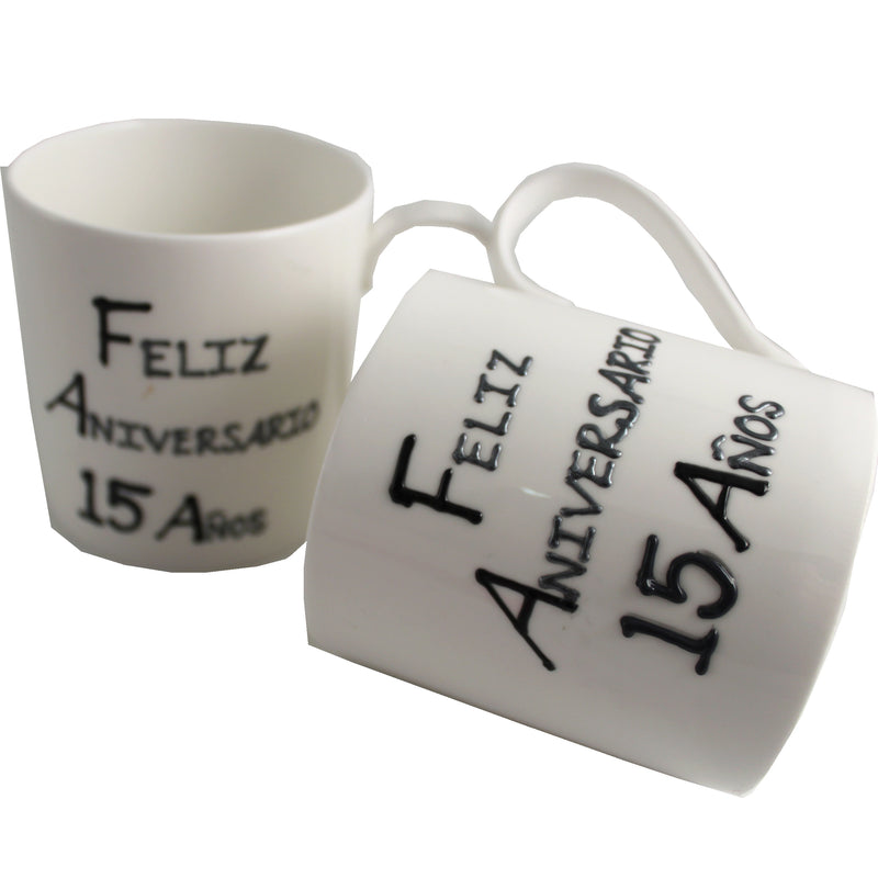 Par de China Tazas Feliz Aniversario 15 Años - 15th Wedding Anniversary Pair of China Mugs  (Blk/Sil)