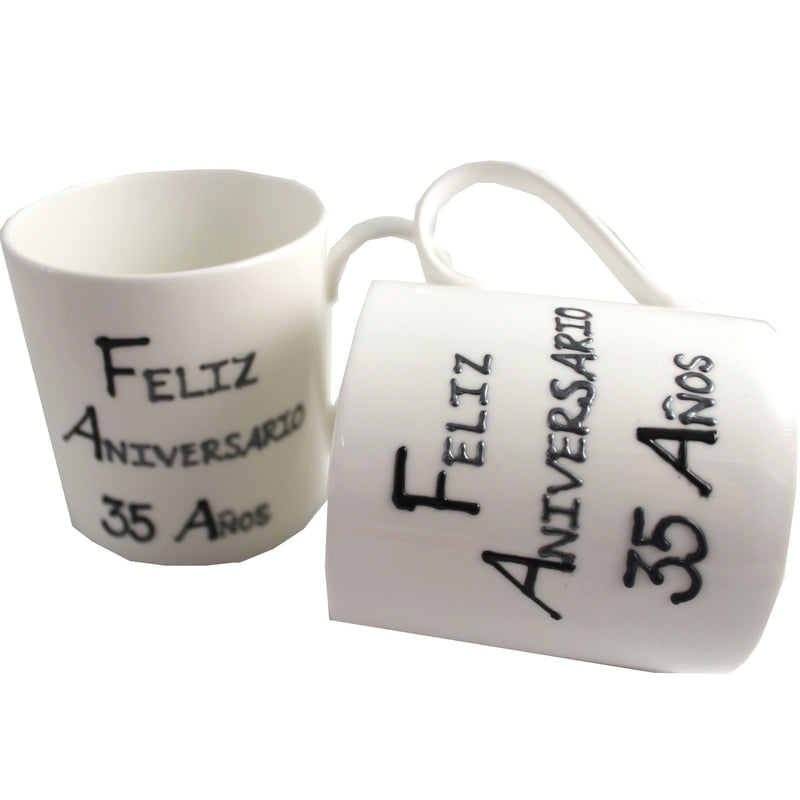 Par de China Tazas Feliz Aniversario 35 Años - 35th Wedding Anniversary Pair of China Mugs  (Blk/Sil)