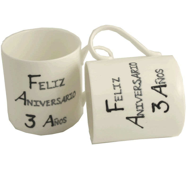Par de China Tazas Feliz Aniversario 3 Años - 3rd Wedding Anniversary Pair of China Mugs  (Blk/Sil)