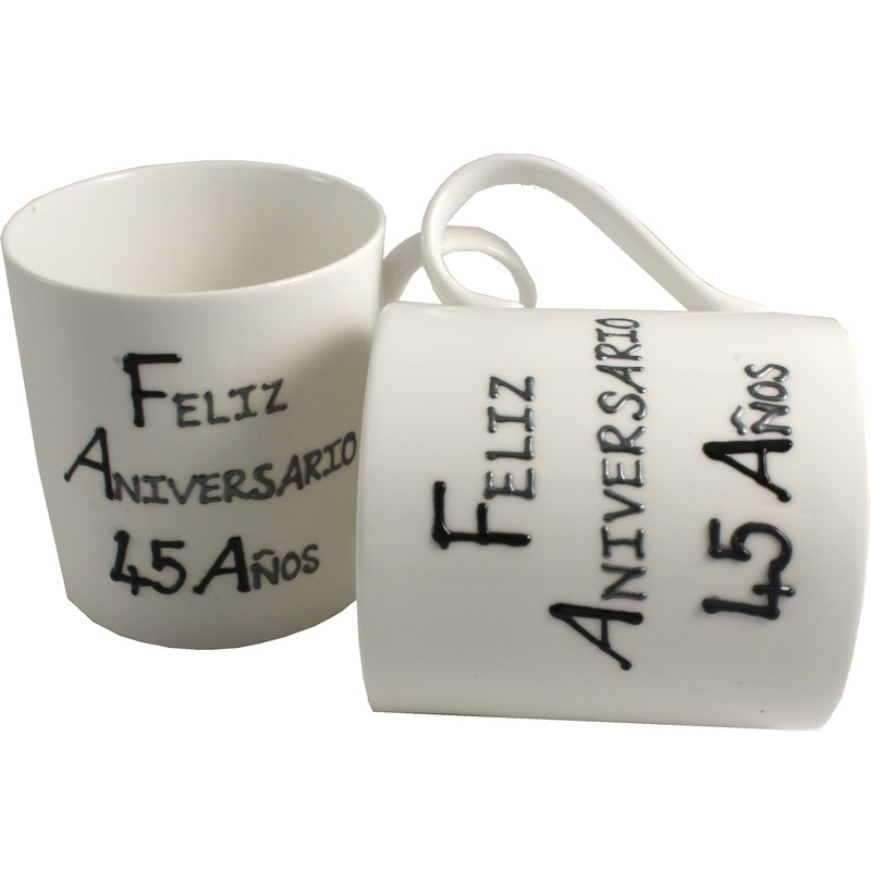 Par de China Tazas Feliz Aniversario 45 Años - 45th Wedding Anniversary Pair of China Mugs  (Blk/Sil)