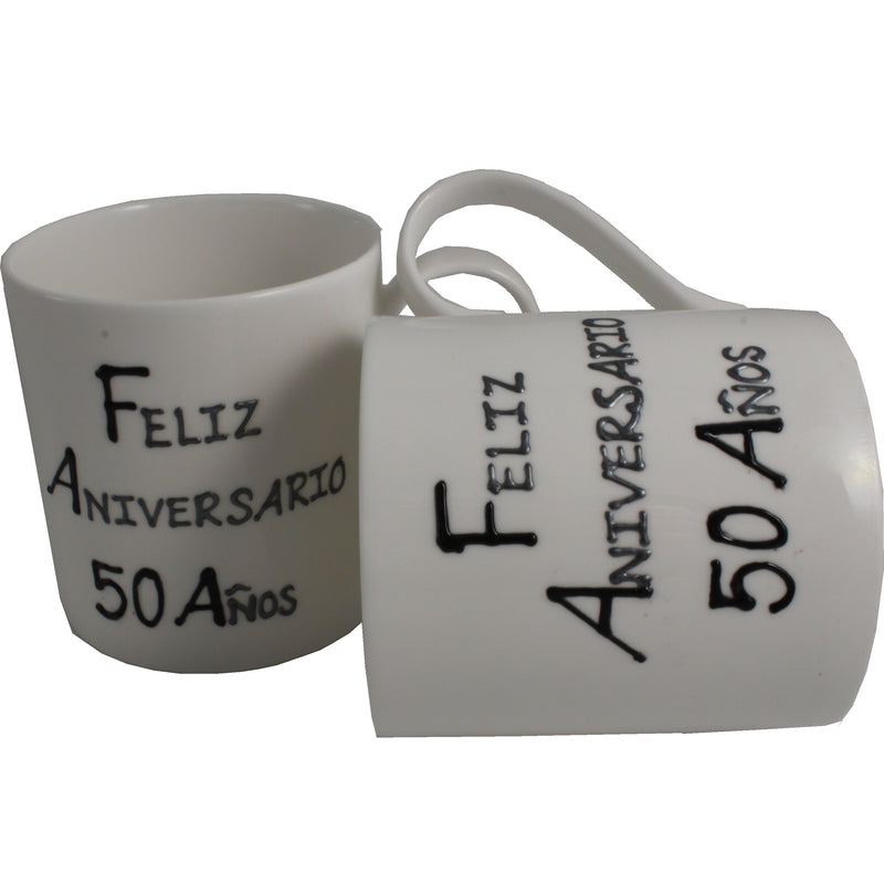 Par de China Tazas Feliz Aniversario 50 Años - 50th Wedding Anniversary Pair of China Mugs  (Blk/Sil)