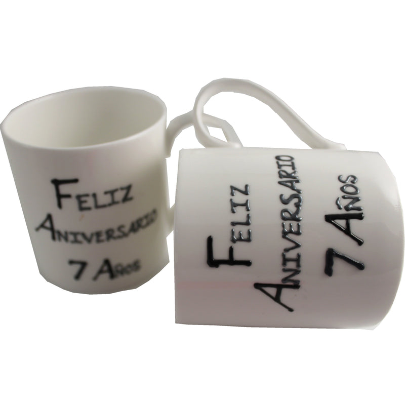 Par de China Tazas Feliz Aniversario 7 Años - 7th Wedding Anniversary Pair of China Mugs  (Blk/Sil)