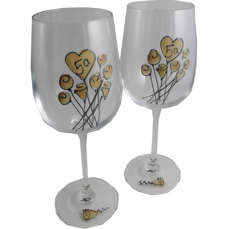 Un par de Copas de Vino Feliz Aniversario 5 Años - 5th Wedding Anniversary Pair of Wine Glasses (Flower)