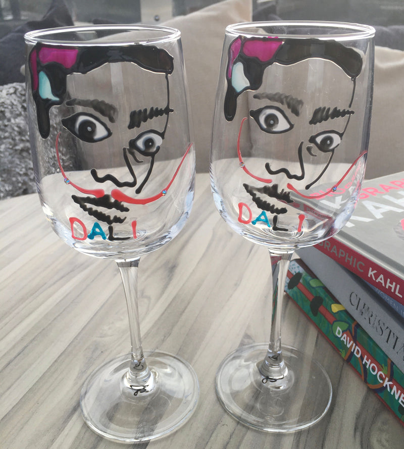 Salvador Dali Luxury Wine Glass: with Crystals x2