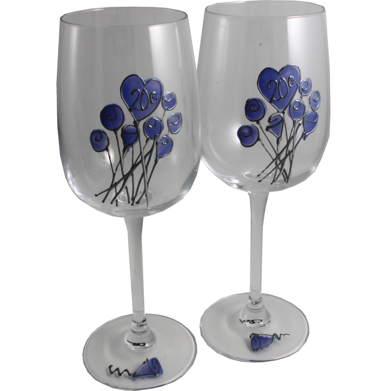 Paire de verres à vin 20e anniversaire de mariage - 20th Anniversary Pair of Wine Glasses (Flower)