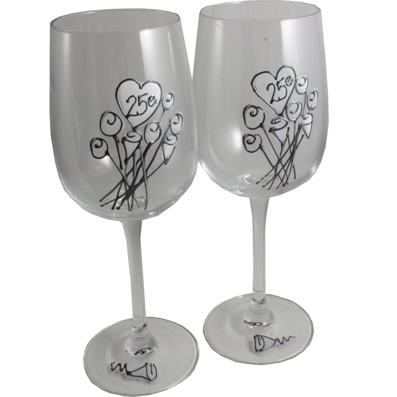Paire de verres à vin 25e anniversaire de mariage - 25th Anniversary Pair of Wine Glasses (Flower)