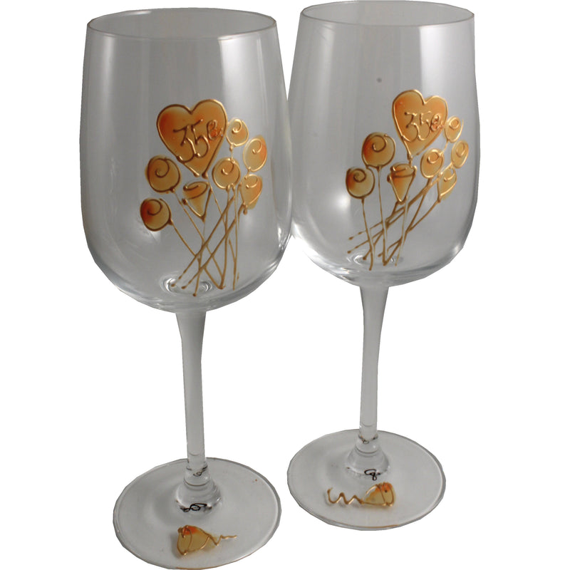Paire de verres à vin 35e anniversaire de mariage - 35th Anniversary Pair of Wine Glasses (Flower)