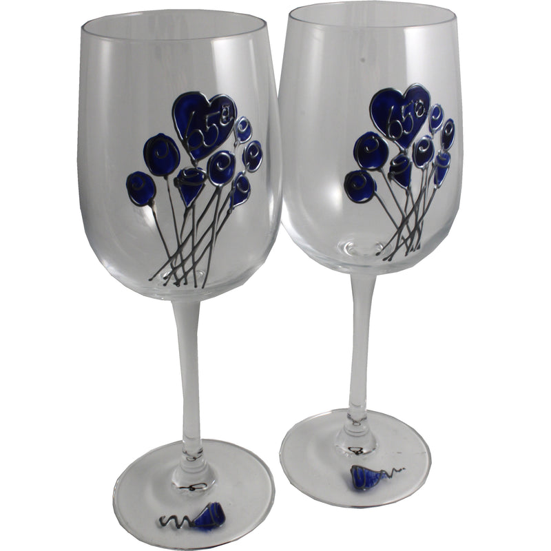 Paire de verres à vin 65e anniversaire de mariage - 65th Anniversary Pair of Wine Glasses (Flower)