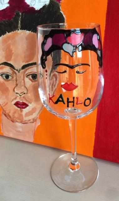 Frida Kahlo Wine Glass