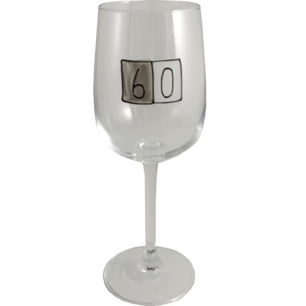 60th Birthday Wine Glass Grey Sq