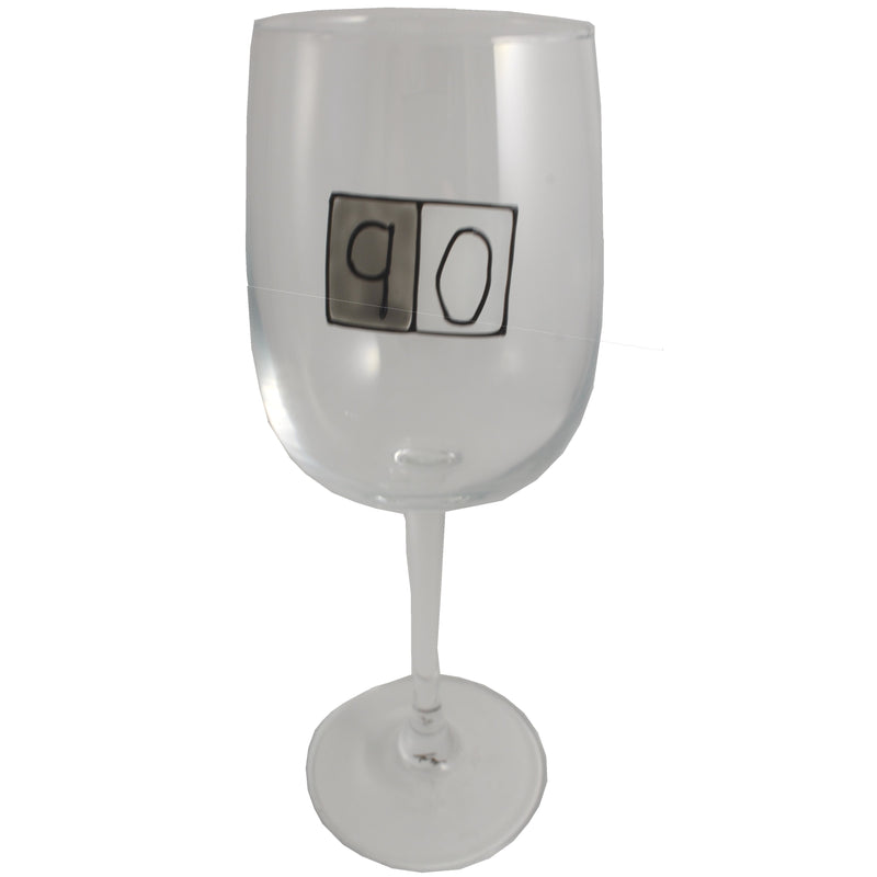 90th Birthday Wine Glass Grey Sq