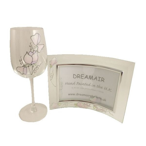 90th Birthday Wine Glass/Frame Gift Set Sweet Pea