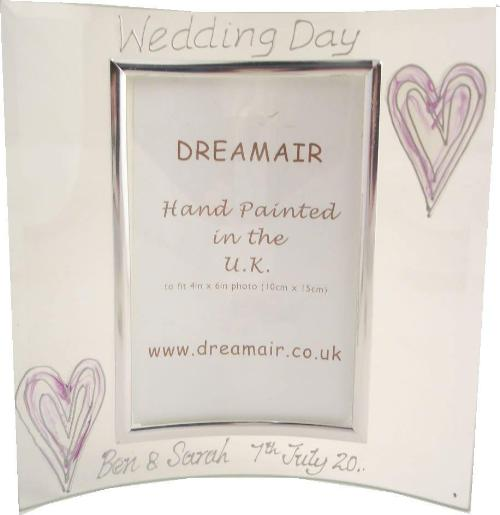 Personalised Wedding Day Photo Frame Silver/Lilac Hearts