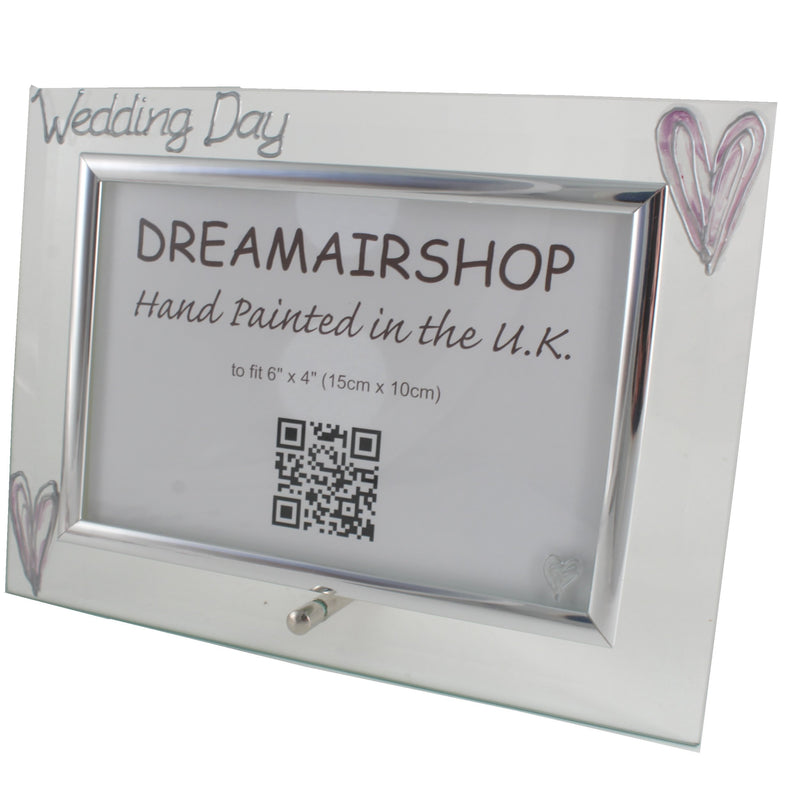 Wedding Day Photo Frame Land Silver/Lilac Hearts