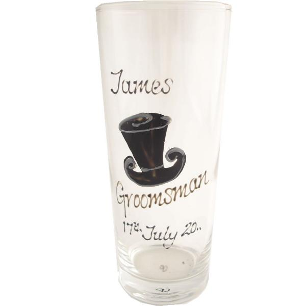 Personalised Groomsman Pint Glass (Top Hat)